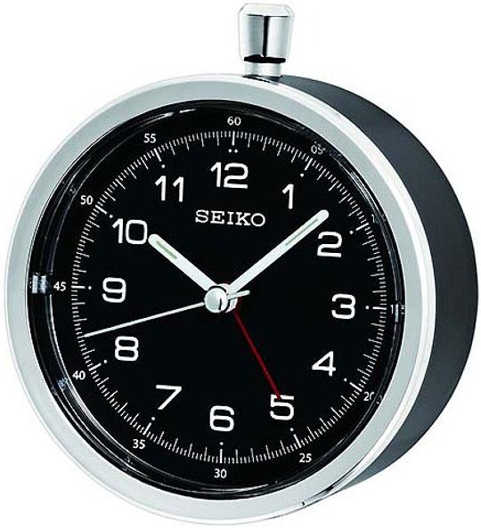 Настольные часы Seiko QHE088K будильник 132х132мм черный белый пластик
