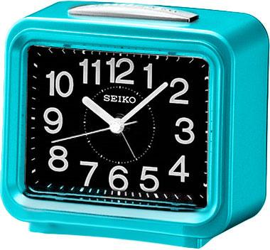 Настольные часы Seiko QHK003L будильник 132х132мм черный белый пластик