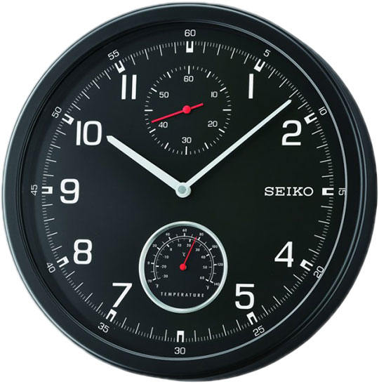 Настенные часы Seiko QXA542J пластик центр ангел с термометром la4102 голубая