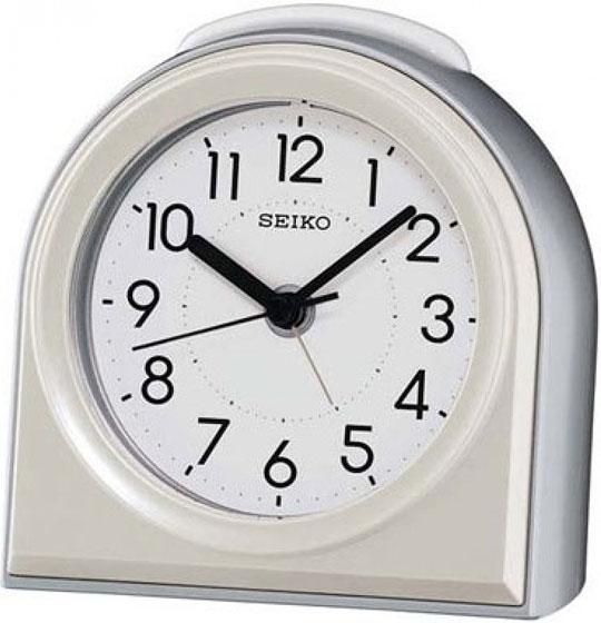 Настольные часы Seiko QXE038S будильник 132х132мм черный белый пластик