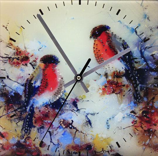 Настенные часы Картины Swarovski snegiri