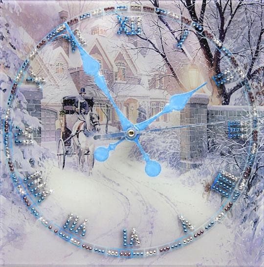 Настенные часы Картины Swarovski zimnyaya-doroga