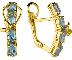 Серьги Aquamarine 4471205-S-g-a