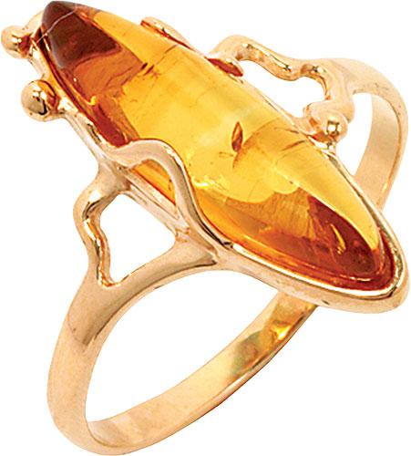 Кольцо красное золото 585 проба купить 51К413462, цена украшения: 9160 руб.  камни: янтарь, размер: 19.0, вес изделия ... | 500x451