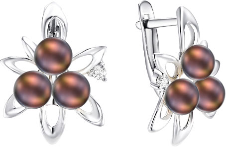 Серьги De Fleur 28524S2 серьги серебро с цитрином и фианитами присцилла