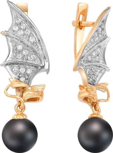 серьги с черным жемчугом золото Серьги De Fleur 32205A2