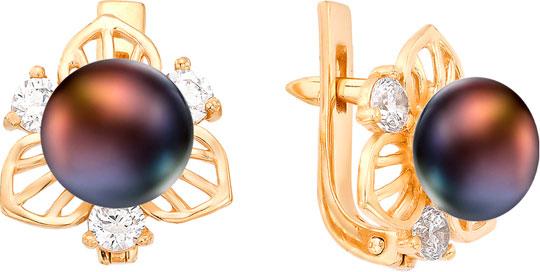 серьги с черным жемчугом золото Серьги De Fleur 32221A2