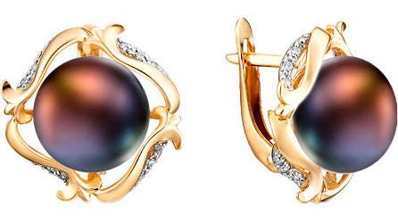 серьги с черным жемчугом золото Серьги De Fleur 32396A2
