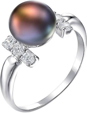 Серебряное кольцо с натуральным черным жемчугом