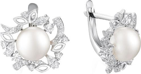 Серьги De Fleur 52506S1 серьги серебро с цитрином и фианитами присцилла