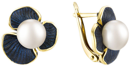 Серебряные серьги De Fleur 52821Y1U с жемчугом, эмалью — купить в AllTime.ru — фото