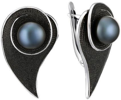 Серебряные серьги De Fleur 52827S2B с жемчугом, эмалью — купить в AllTime.ru — фото