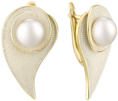 Серебряные серьги De Fleur 52827Y1H с жемчугом, эмалью — купить в AllTime.ru — фото