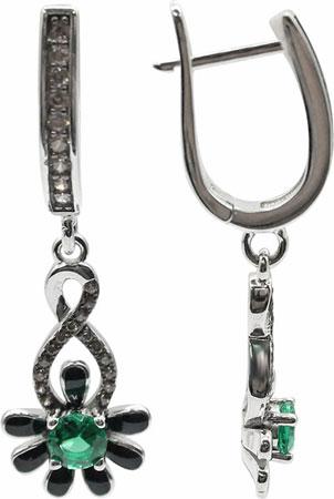 Серьги Element47 by JV E06485-green серьги с подвесками jv серебряные серьги с куб циркониями e j0406 001 wg