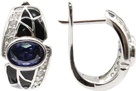 Серьги Element47 by JV E06488-blue серьги с подвесками jv серебряные серьги с куб циркониями e j0406 001 wg