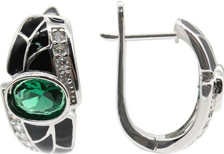 Серьги Element47 by JV E06488-green серьги с подвесками jv серебряные серьги с куб циркониями e j0406 001 wg