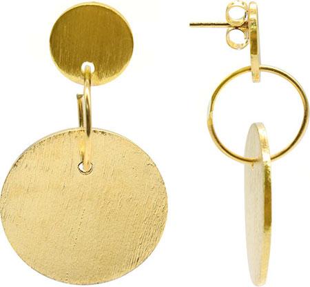 Серьги Element47 by JV EP0009-gold серьги с подвесками jv серебряные серьги с куб циркониями агатами и сапфирами 819 460 sm cag 001 yg