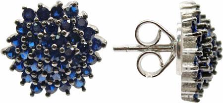 Серьги Element47 by JV KB04903-E-blue серьги с подвесками jv серебряные серьги с куб циркониями e j0406 001 wg