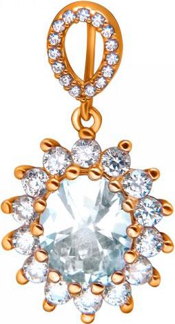 женские кулоны эстет серебряный кулон с куб цирконием в позолоте est01п152517аz Кулоны, подвески, медальоны Эстет 01P1510758A