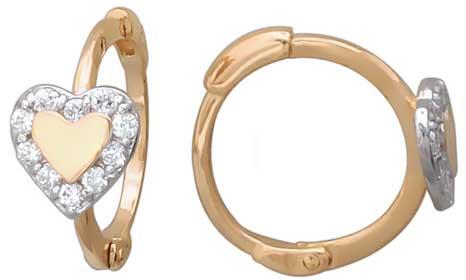 Золотые серьги круглые Эстет 01S114827 с фианитами