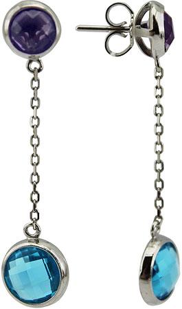 Серьги Эстет 01S258037AMLBLU серьги с подвесками jv серебряные серьги с ювелирным стеклом e1383 us 002 wg