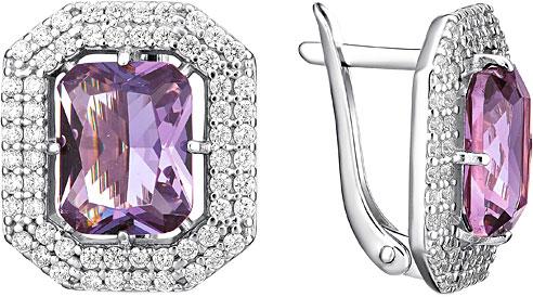 Серьги Инталия 23116-001-9 jv серебряные серьги с аметистами и куб циркониями в позолоте or 3865rpnf2 am 001 pink