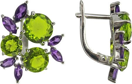 Серьги Ювелирные Традиции S620-3461M44 урожай антикварные серебряные серьги браслеты ювелирные изделия устанавливает полый цветок зеленый камень браслет браслет цыганска