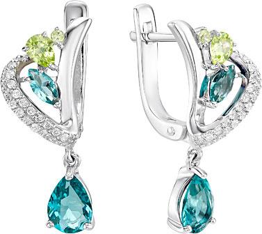Серьги Ювелирные Традиции S620-4154M3 урожай антикварные серебряные серьги браслеты ювелирные изделия устанавливает полый цветок зеленый камень браслет браслет цыганска