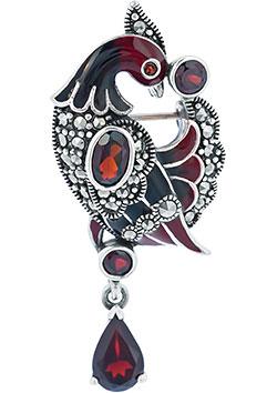 Броши Марказит HB493-granat-mr новый дизайн сплав красный синий эмаль фламинго птица броши женские мужские металлические броши броши банки банкет брошь подарочны