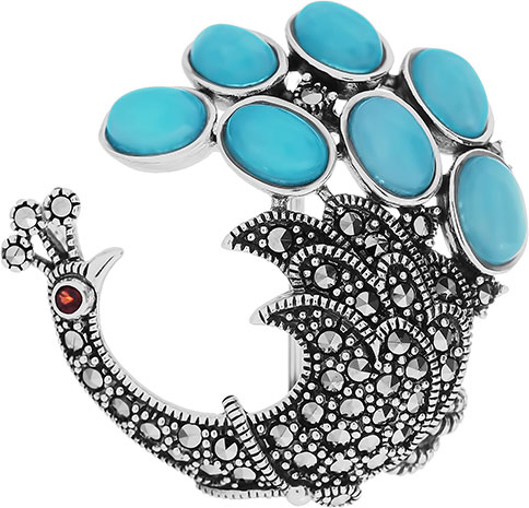 Броши Марказит HB604-amazonit-mr новый дизайн сплав красный синий эмаль фламинго птица броши женские мужские металлические броши броши банки банкет брошь подарочны