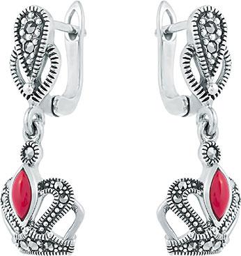 Серьги Марказит HE1011-korall-mr серьги с подвесками jv серебряные серьги с ювелирным стеклом se0422 us 001 wg
