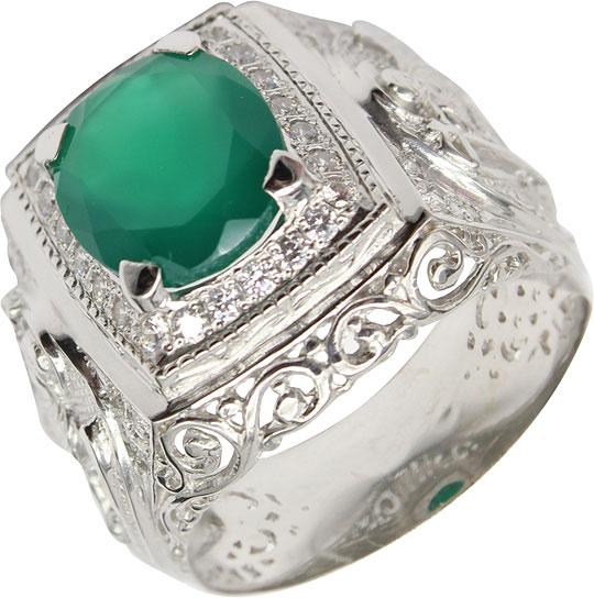 Кольца Маршал KM-141/3-zelenyj-agat