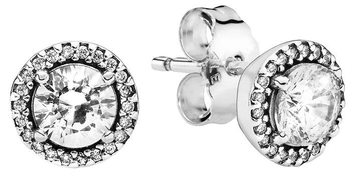 Серебряные серьги пусеты-гвоздики PANDORA 296272CZ с кубическим цирконием — купить в AllTime.ru — фото