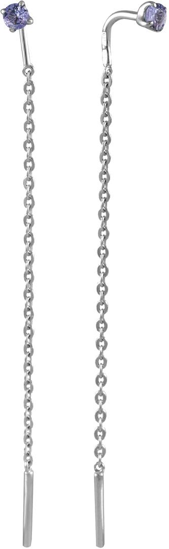 Серебряные серьги продевки СБ Золото SG-25/038TAN2 с танзанитом — купить в AllTime.ru — фото
