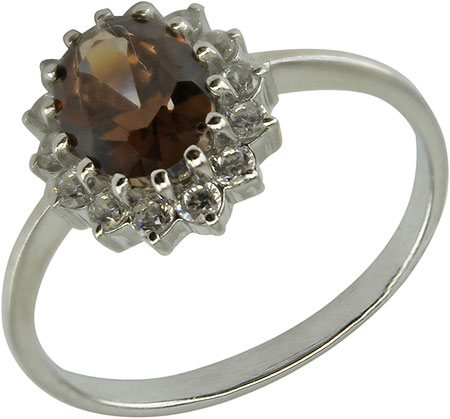 Кольца Серебро России K1245R-35396 кольцо серебро с раухтопазом родник скнрт 8460