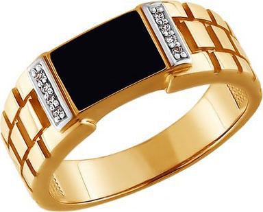 Мужская золотая печатка перстень SOKOLOV 015072_s с эмалью с фианитами