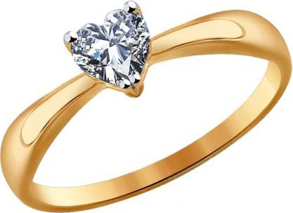 Золотое помолвочное кольцо SOKOLOV 016949_s с фианитом