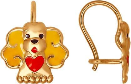Детские золотые серьги SOKOLOV 027351_s c эмалью