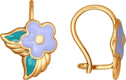Детские золотые серьги SOKOLOV 027353_s с эмалью
