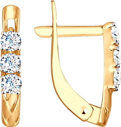 Серьги SOKOLOV 027574_s серьги из золота с бриллиантовой дорожкой