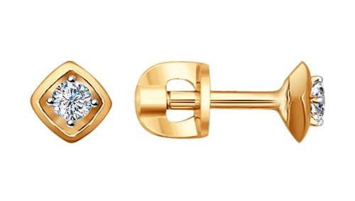 Серьги SOKOLOV 1020715_s золотые серьги пусеты с бриллиантами 16319002000