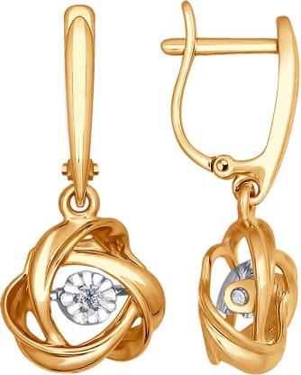 Фото «Золотые серьги с подвесками SOKOLOV 1021084_s с бриллиантами»