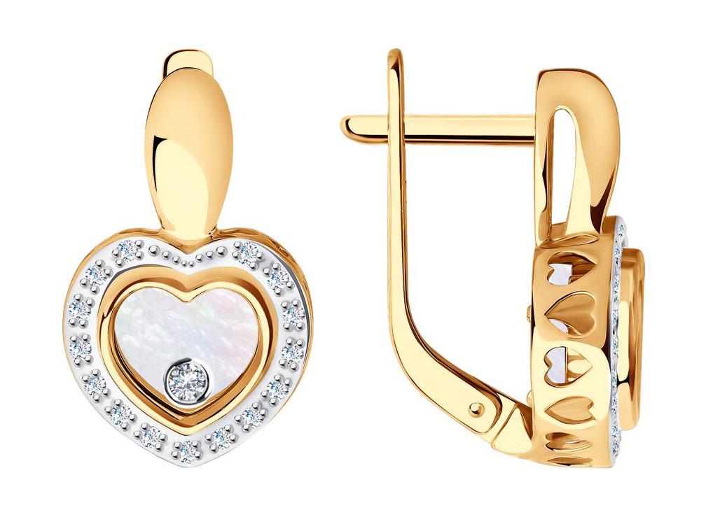 Фото «Золотые серьги SOKOLOV 1021168_s с перламутром, ювелирным стеклом, бриллиантами»