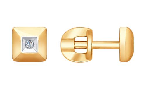 Серьги SOKOLOV 1021231_s золотые серьги пусеты с бриллиантами 16319002000