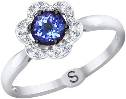 Фото «Кольцо из белого золота SOKOLOV 6014073_s с танзанитом, бриллиантами»
