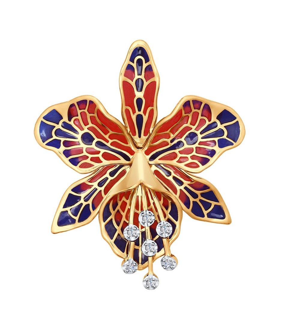 Золотая брошь SOKOLOV 6049004_s с эмалью, бриллиантами