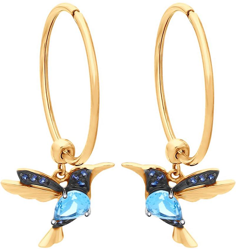 Фото «Золотые серьги кольца конго SOKOLOV 725377_s c топазами, фианитами»