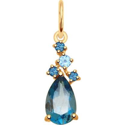 Кулоны, подвески, медальоны SOKOLOV 731706_s fashion золотой кулон с бриллиантами и полудрагоценными камнями от swarovski 7p30570