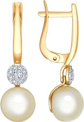 Золотые серьги SOKOLOV 792013 s с жемчугом, фианитами — купить в ... b0db887a4f2