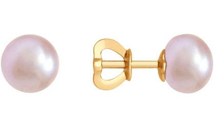 Фото «Золотые серьги шарики SOKOLOV 792100_s с жемчугом»